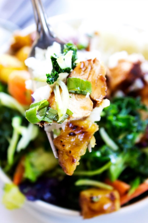 up close of fork with a bite of sweet ginger teriyaki chicken on it, over a Sweet Ginger Teriyaki Chicken Bowl