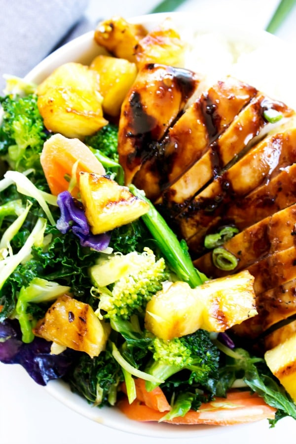 top down photo of Sweet Ginger Teriyaki Chicken Bowl. sliced teriyaki chicken on veggie mix
