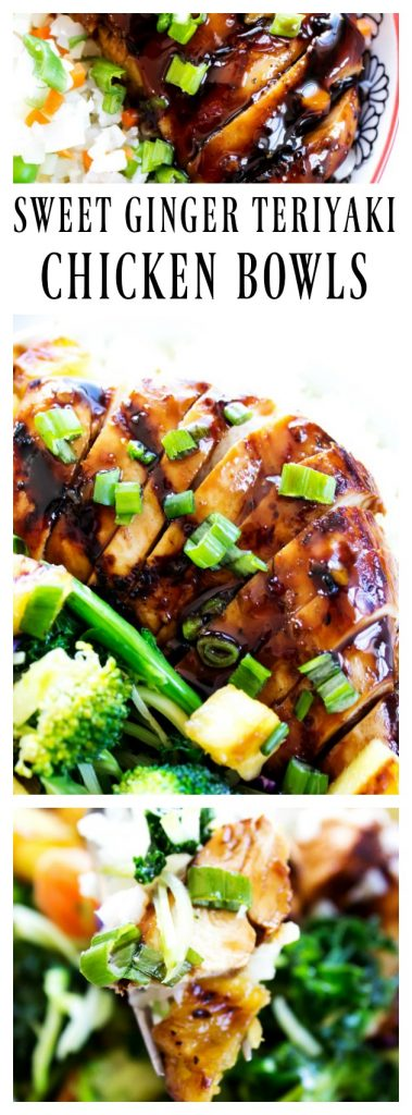 photos of Sweet Ginger Teriyaki Chicken Bowls in collage