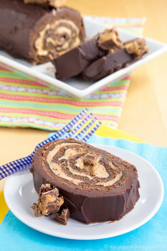 Peanut Butter Cup Flourless Chocolate Cake Roll