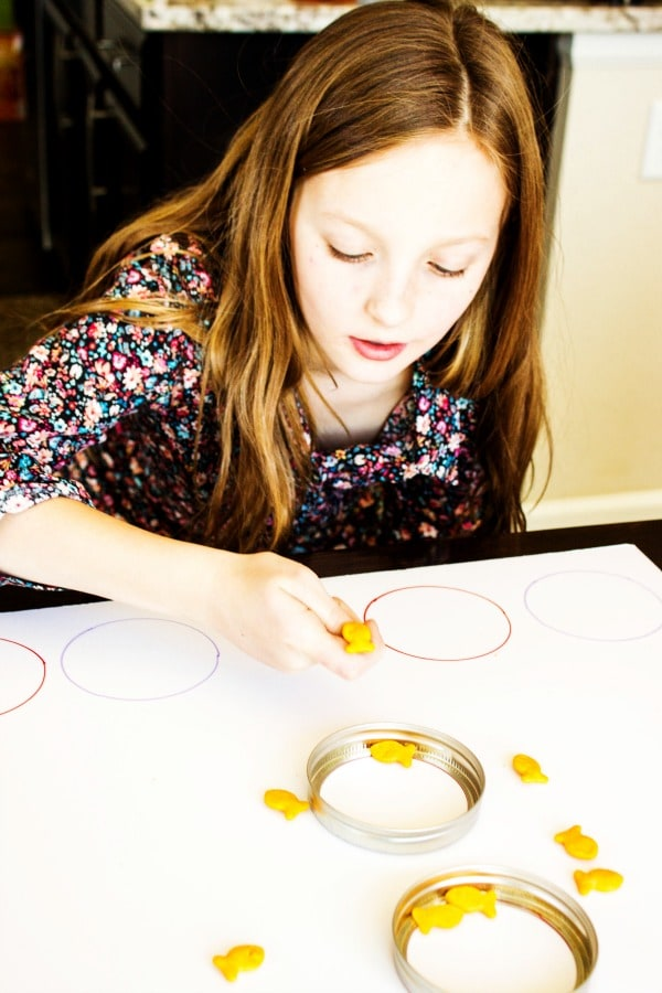 photo of a girl playing goldfish ring toss game, flicking goldfish into mason jar lid rings