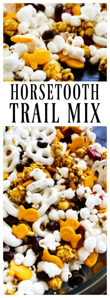 top photo: up close of photo of Horsetooth Trail Mix in a glass bowl. popcorn, goldfish, yogurt pretzels, caramel corn, licorice pieces and chocolate covered raisins