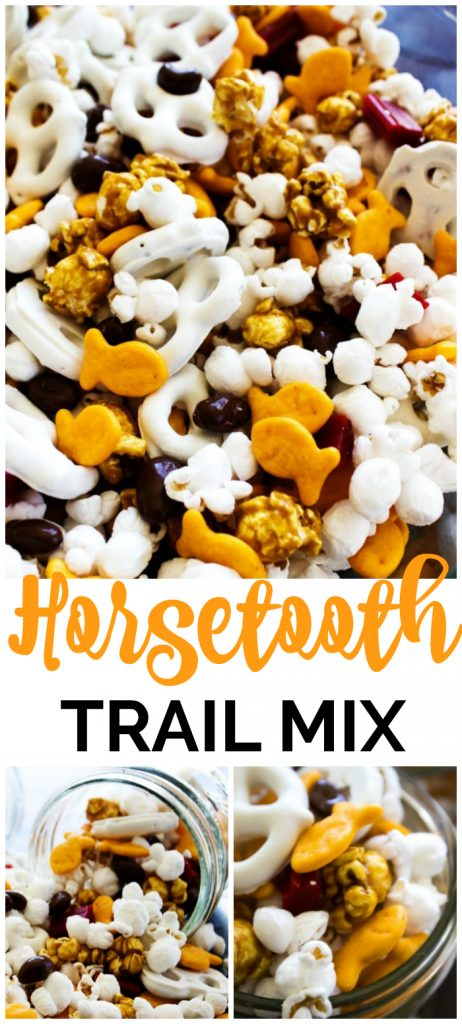 photos of Horsetooth Trail Mix in glass bowl and mason jars. popcorn, goldfish, yogurt pretzels, caramel corn, licorice pieces and chocolate covered raisins