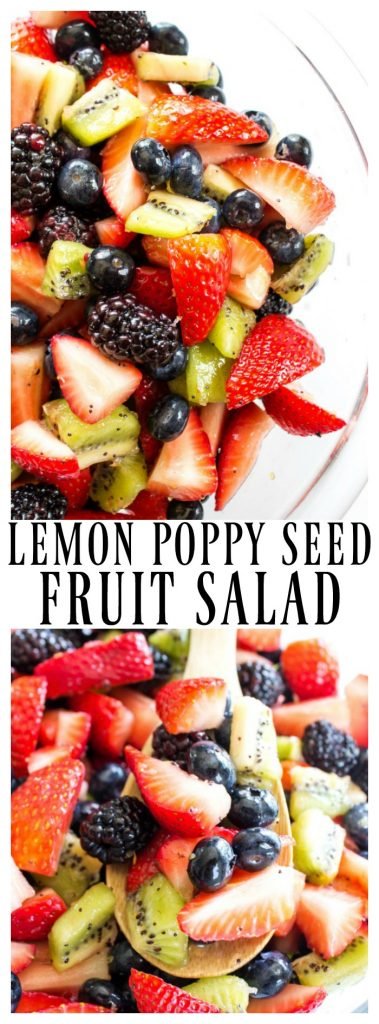 lemon poppy seed fruit salad with blackberries, strawberries, blueberries, kiwi and lemon glaze in a glass bowl