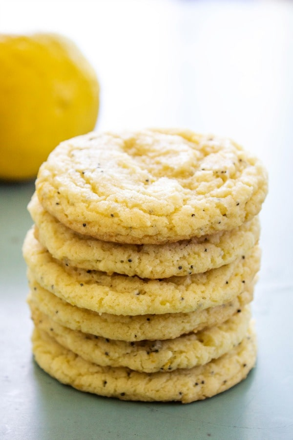 photo of a stack of 6 Lemon Poppy Seed Sugar Cookies with no frosting