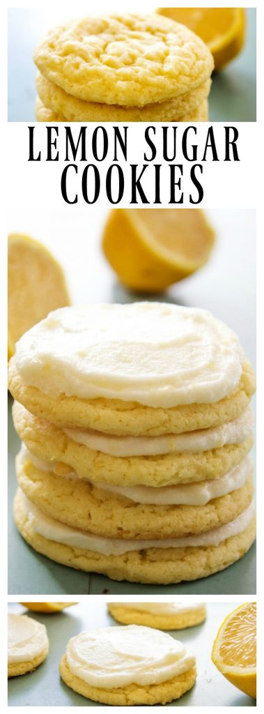 unfrosted lemon sugar cookies in a stack, frosted lemon sugar cookies stack of 4, frosted lemon sugar cookies laid out on counter