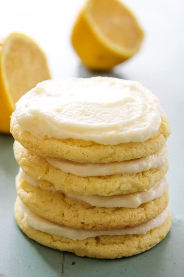 stack of frosted lemon sugar cookies