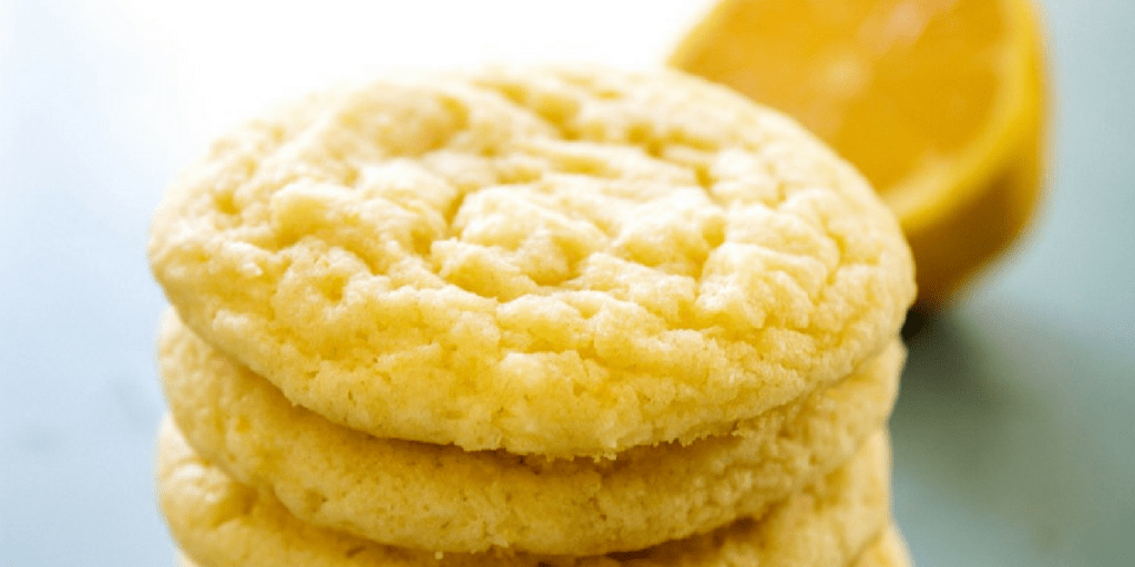 LEMON SUGAR COOKIES unfrosted in a stack