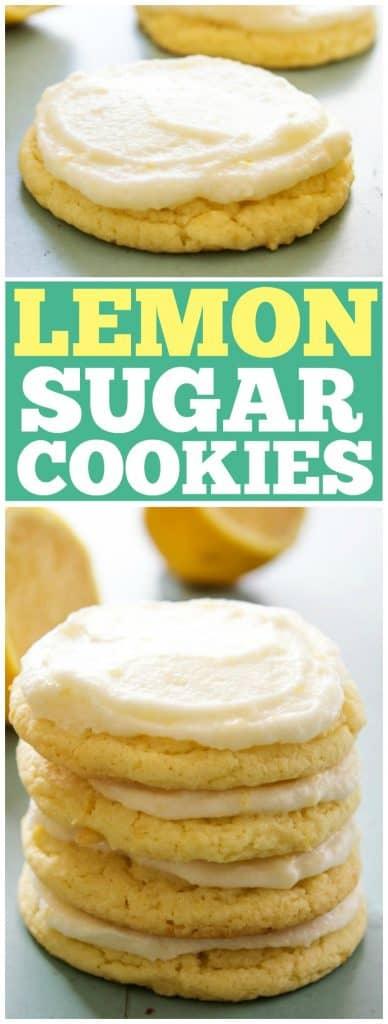 Lemon sugar cookies in a stack