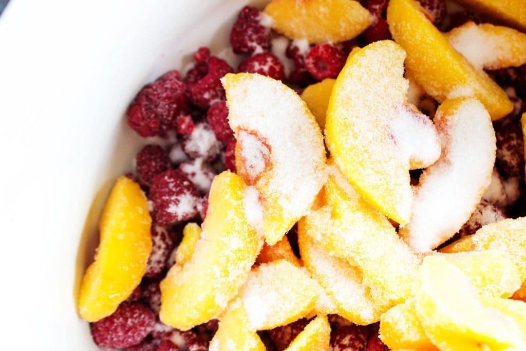 RASPBERRY PEACH SAUCE -White bowl, frozen fruit