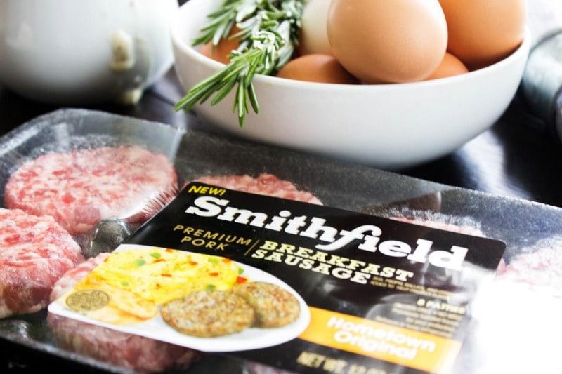 SAUSAGE BREAKFAST POT PIE - White bowl, rosemary, eggs, Smithfield breakfast sausage