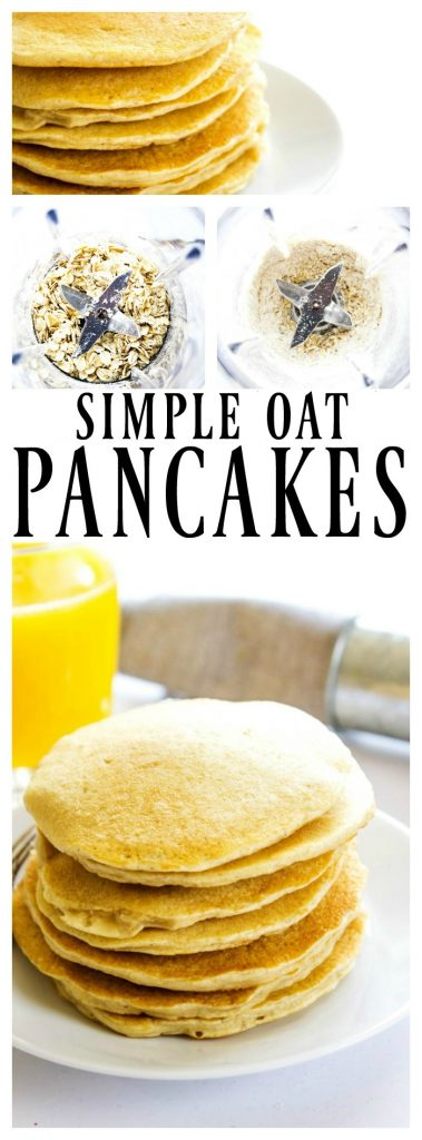 Oatmeal Pancakes in a stack on a plate, close up, oats in a blender before and after being blended