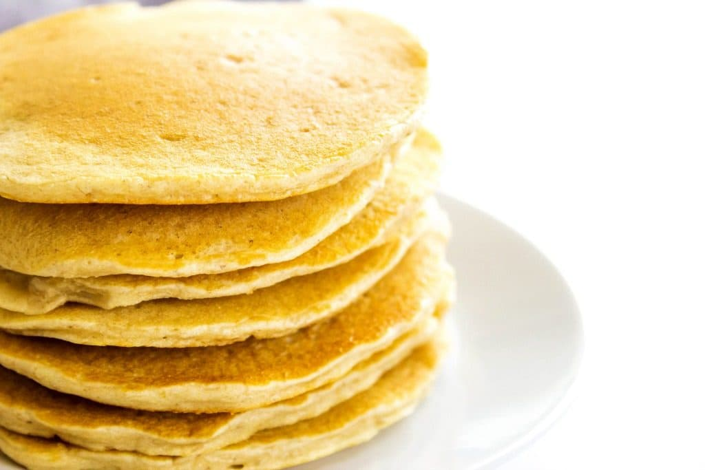 Oatmeal Pancakes in a stack close up