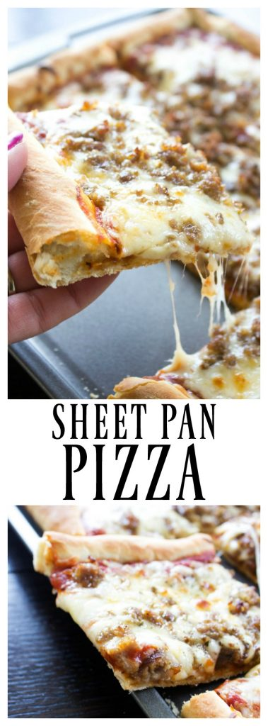 sheet pan pizza, homemade pizza, pizza, slice, cheese, sausage, baking sheet
