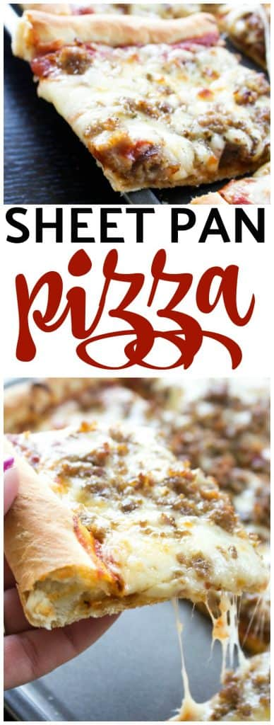 photos of slices of sheet pan pizza