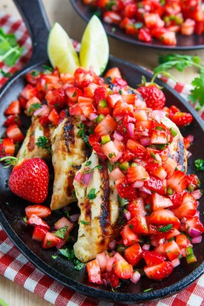 CILANTRO LIME GRILLED CHICKEN SALAD WITH STRAWBERRY SALSA