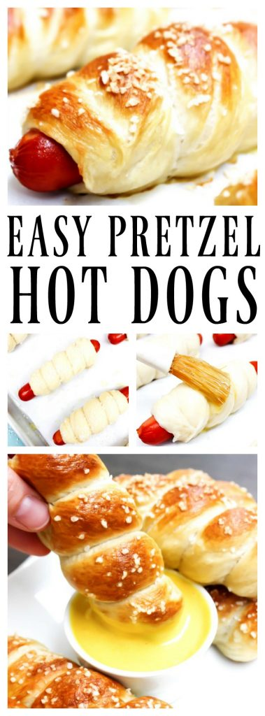 Title: Easy Pretzel Hot Dogs. Top Photo: close up of easy pretzel hot dogs on a sheet pan, middle left: unbaked pretzel dogs on pan, middle right: brushing egg wash on top of unbaked pretzel dog. bottom photo: dipping a pretzel hot dog in honey mustard sauce