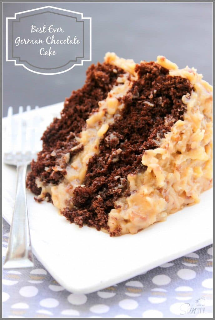 photo of a slice of Best Ever German Chocolate Cake on a square white plate with a metal fork