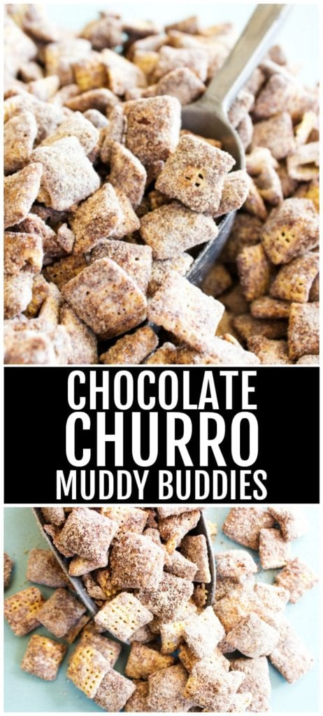 Top Photo: Pile of chocolate churro muddy buddies with metal scoop. Bottom photo: Small pile of chocolate churro muddy buddies in metal scoop