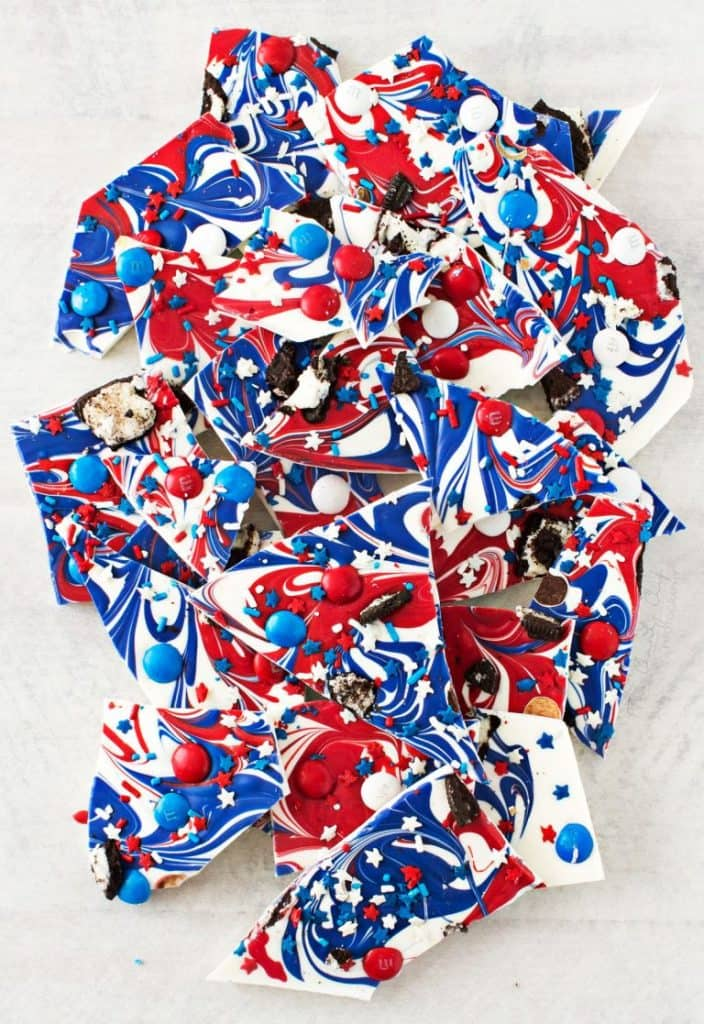 overhead photo of candy bark