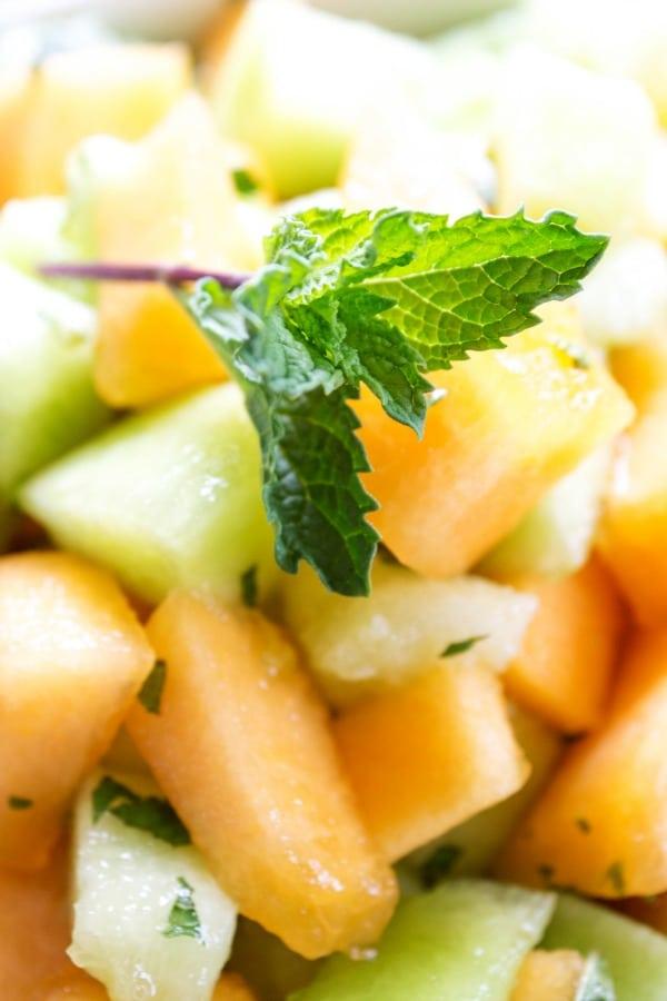 MELON & MINT FRUIT SALAD Mint on fruit salad