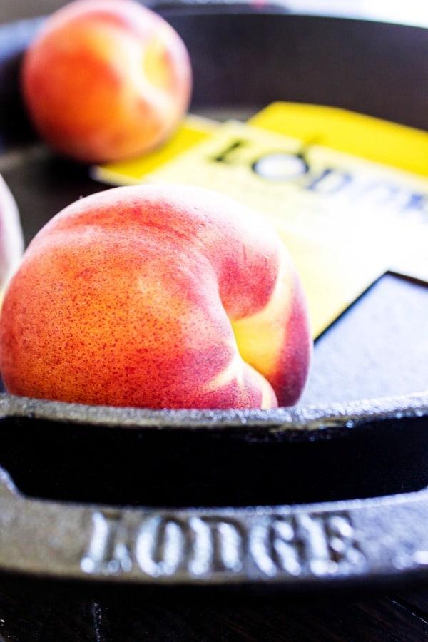 BEST EVER PEACH COBBLER RECIPE. Peaches, caste iron skillet