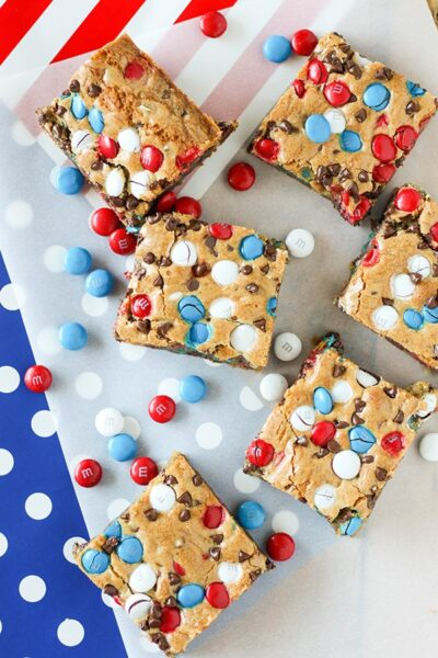 overhead photo of cookie bars