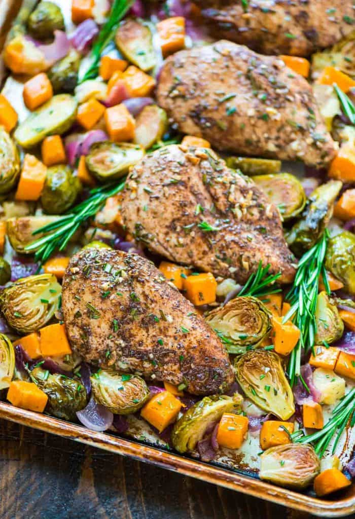 SHEET PAN CHICKEN, SWEET POTATOES, APPLES & BRUSSEL SPROUTS