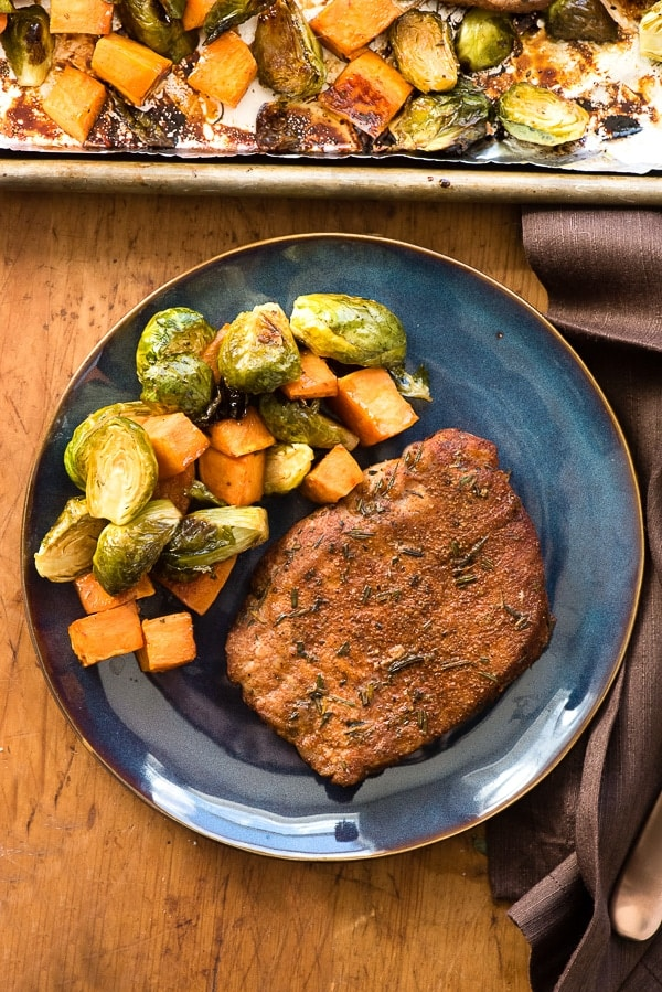 SHEET PAN SPICY PORK CHOPS & BRUSSELS SPROUTS RECIPE