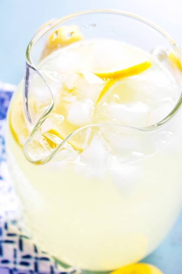 photo of lemonade in a glass pitcher with ice