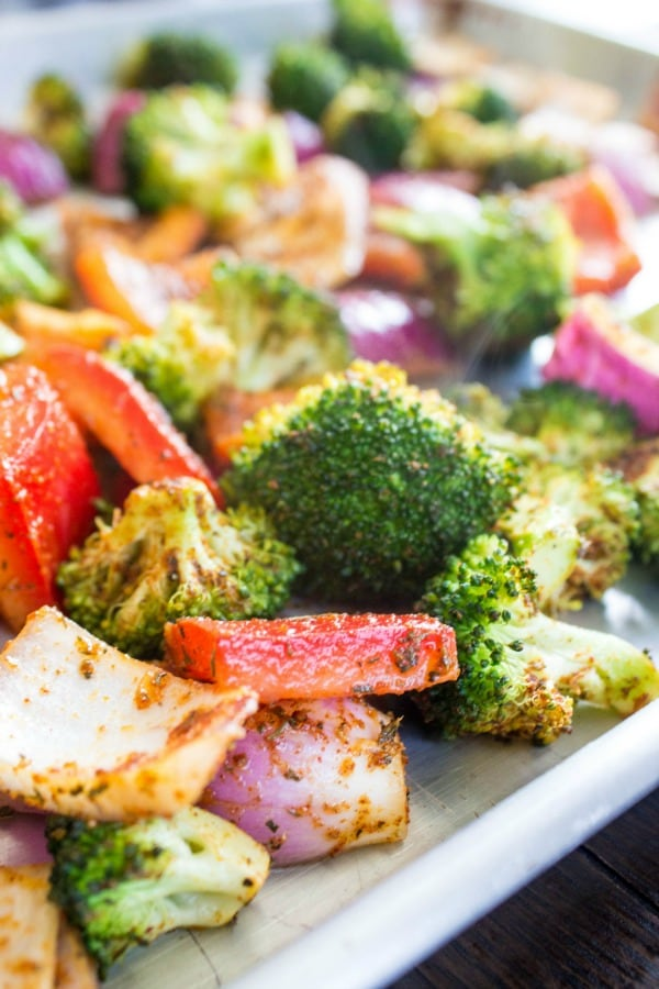 SHEET PAN CAJUN SHRIMP - Broccoli, peppers and onions on sheet pan