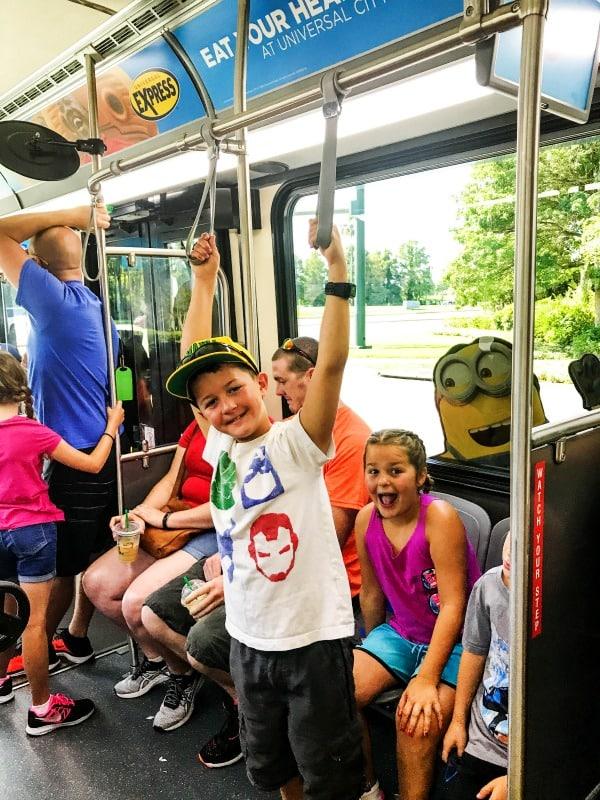 sandra's kids on a universal bus