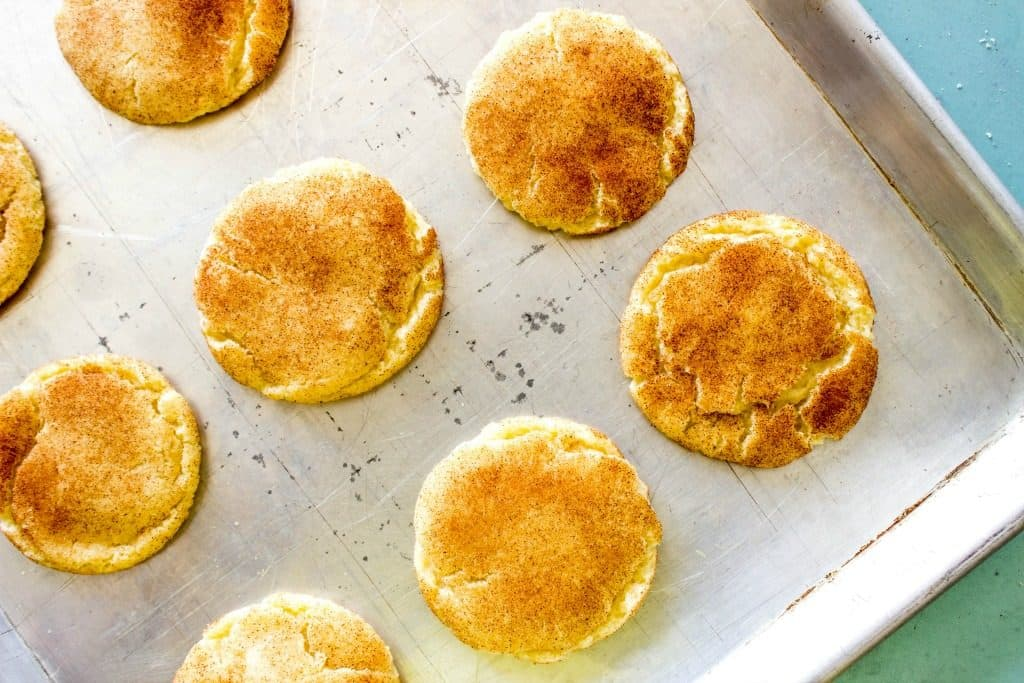 BEST EVER SNICKERDOODLE COOKIE RECIPE - Finished cookies on metal cookie sheet