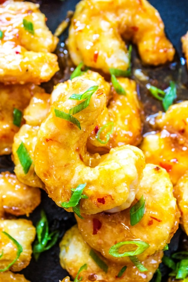 Close up photo of firecracker shrimp in skillet