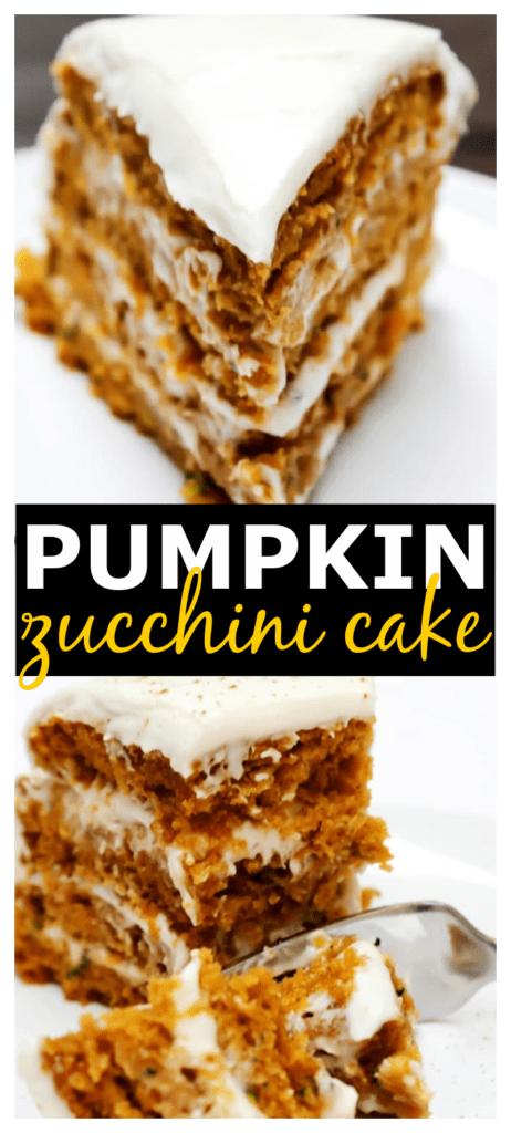 layered pumpkin zucchini cake with cream cheese frosting.