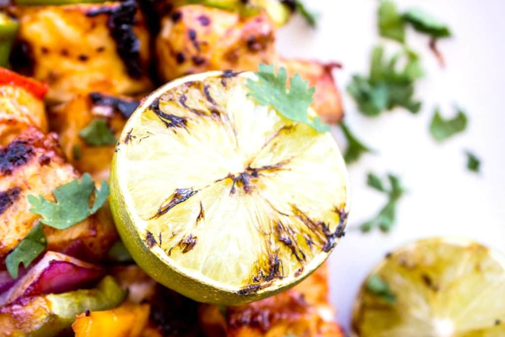 Grilled lime on kabobs.