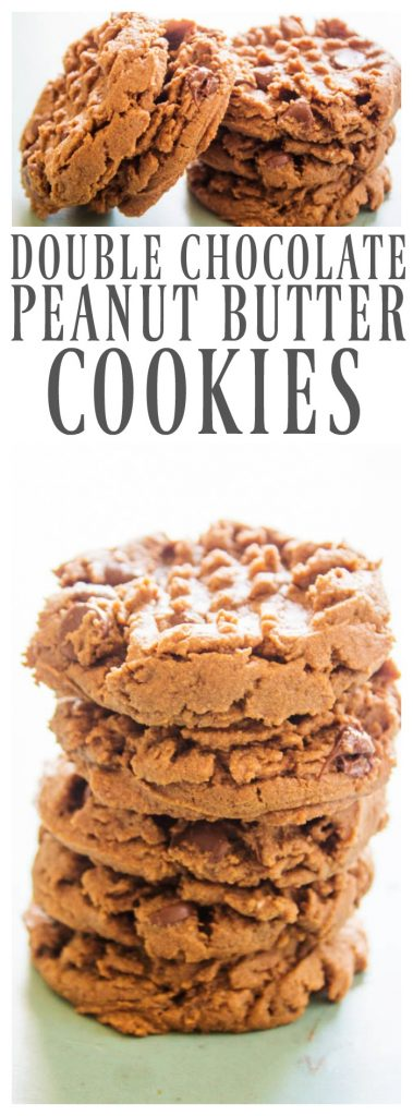DOUBLE CHOCOLATE PEANUT BUTTER COOKIES - Soft & chewy these chocolate peanut butter cookies with chocolate chips are my sweet tooth fixation.