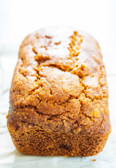 GLUTEN-FREE PUMPKIN BREAD - a quick bread that is deliciouslyspiced with nutmeg, cinnamon, & cloves. This fall treat is a family favorite.