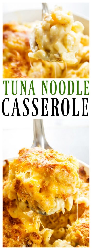 "photos of tuna noodle casserole in spoons with title ""Tuna noodle casserole"""