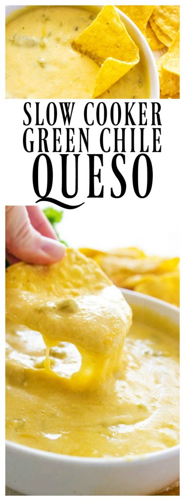 Two classics collide in thisCROCK POT GREEN CHILE QUESO. Mild & cheesy, it's filled with green chiles & 4 kinds of cheese, it makes game day delicious.