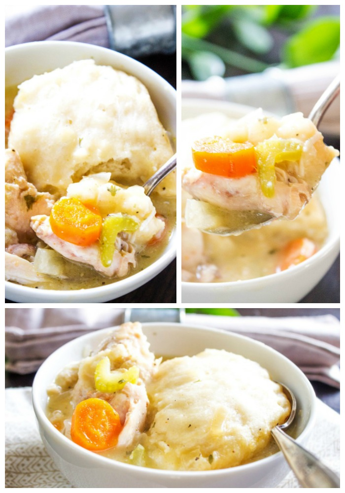 photos of chicken and dumplings in a white bowl with a spoon from 3 angles
