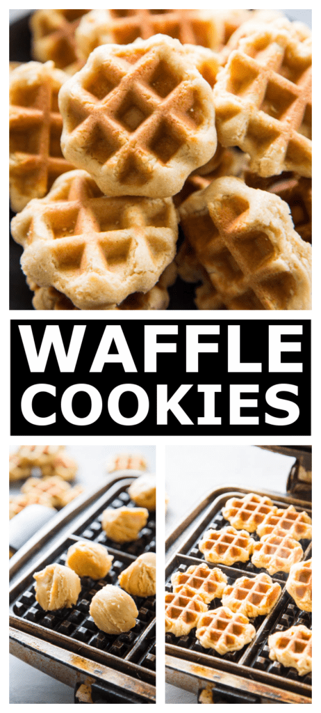 waffle cookies collage image of finished cookies and waffle iron