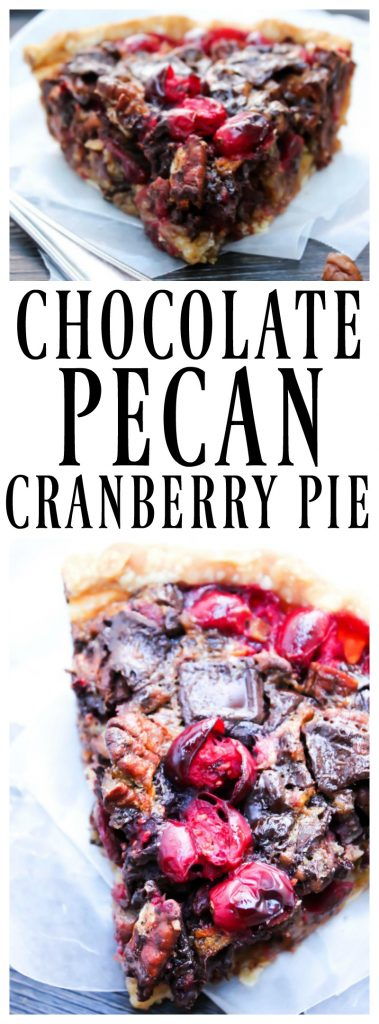 CHOCOLATE PECAN CRANBERRY PIE that is a recipe for a traditional pecan pie with a twist.