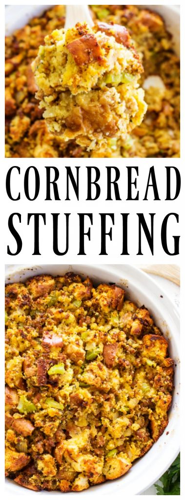 This traditional CORNBREAD STUFFING recipe is full of flavor and loaded with herbs, sausage, onion, celery and garlic; making it a holiday favorite.