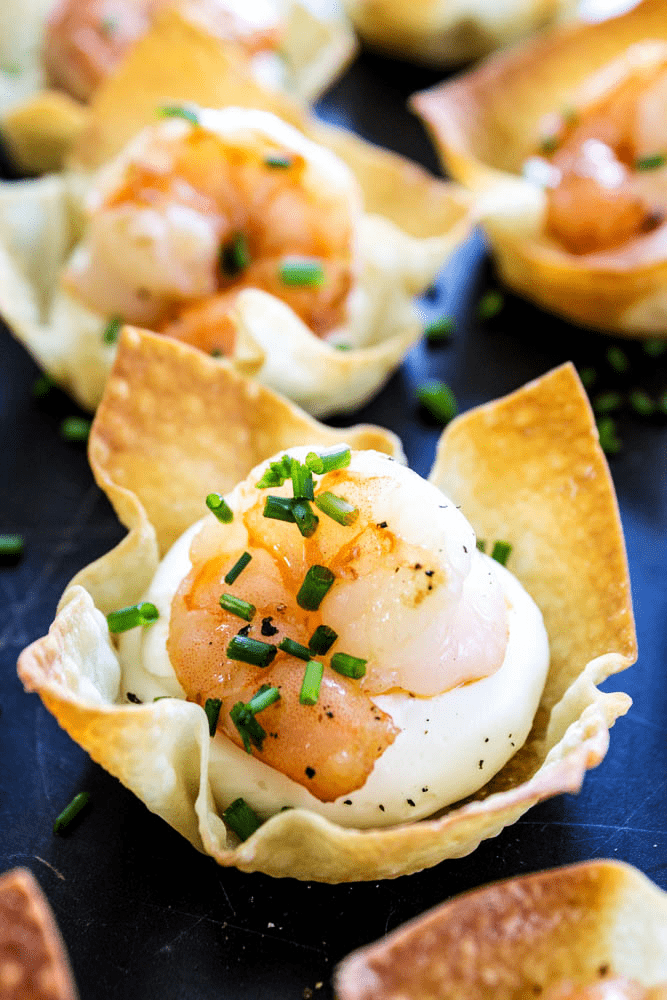 Baked Shrimp Wontons - wonton pieces filled with cream cheese, shrimp, and chives