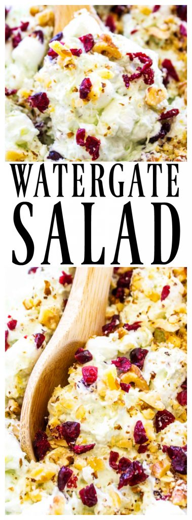 WATERGATE SALAD - A classic & traditional holiday side dish that everyone loves. Made with Cool Whip, marshmallows, pistachio pudding and pineapple, it's deliciously easy.
