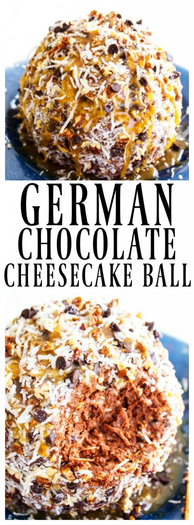 German Chocolate Cheesecake Ball prepared on a plate, German Chocolate Cheesecake Ball with a chunk taken out of side
