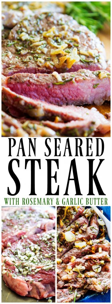 Pan-Seared Steak with Rosemary and Garlic Butter sliced on a wooden cutting board, raw steak on a pan, sliced steak served on a plate