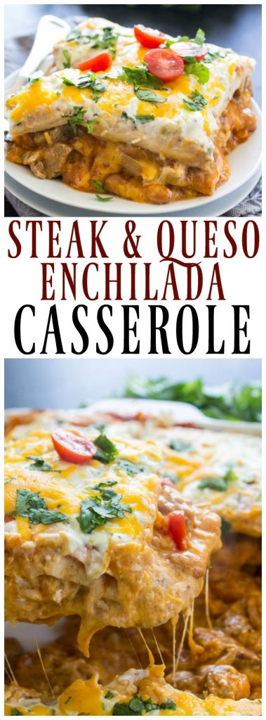 Steak and Queso Enchilada Casserole served on a small plate, Steak and Queso Enchilada Casserole in a white baking dish