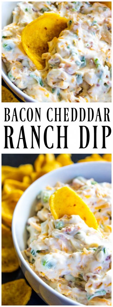 up close tortilla chip being dipped into Bacon Cheddar Ranch Dip. Bacon Cheddar Ranch Dip in a bowl surrounded by tortilla chips